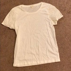 Like New J Crew white tee with sleeve detailing